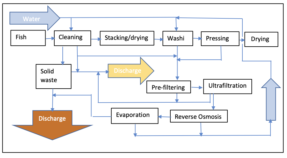Flow diagram for fish salting industry
