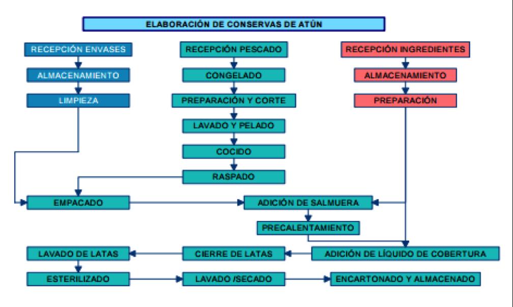 el proceso de elaboración de conservas de fabricación del atún