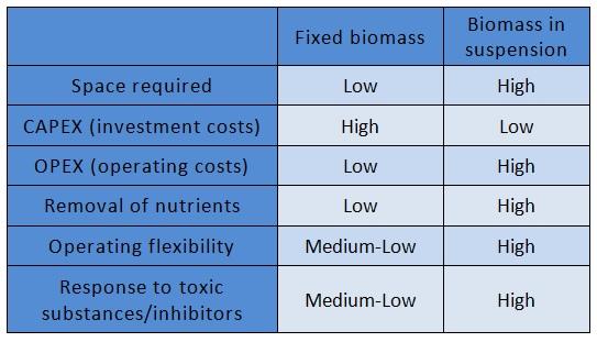 fixed biomass vs biomass in suspension