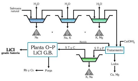 Proceso diferencial de obtención de LiCl